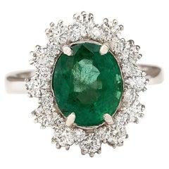 4.20 Carat Natural Emerald 18 Karat White Gold Diamond Ring