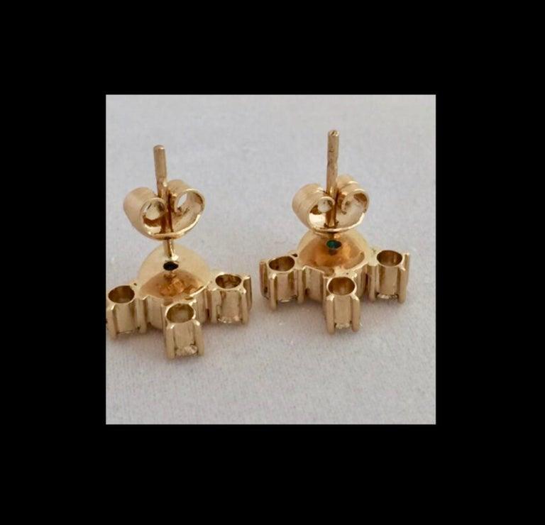 Fine  Vibrant Green Colombian Emerald Pear Cut Diamond Earrings 18K For Sale 5