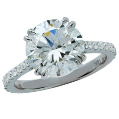 3.70 Carat Total Weight GIA Graded Diamond Engagement Ring