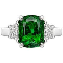 4.20 Carat Tsavorite Garnet and Diamond Ring