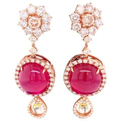 42.02 Carat Ruby Cabochon, Pink Diamond, and Diamond Briolette Gold Earrings