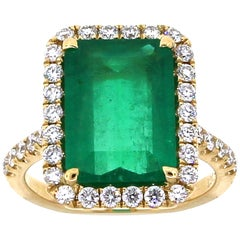 4.21 Carat Colombian Emerald and Diamond Cocktail Ring