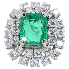 4.21 Carat Colombian Emerald Diamond Gold Ring