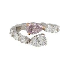 4.21 Carat GIA Fancy Pink Diamond Overpass Ring 18 Karat in Stock