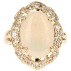 4.21 Carat Oval Cut Opal Diamond 14 Karat Yellow Gold Ring