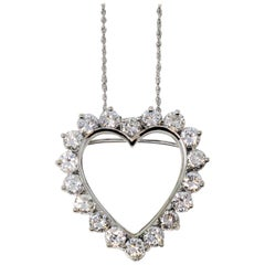 4.21 Carat Total Round Diamond Open Heart Pendant Necklace /Brooch 14 Karat Gold