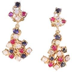 4.21 Carat Yellow Gold Diamond Ruby Sapphire Earrings