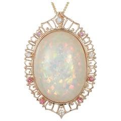 42.18 Carat Oval Opal Pink Sapphire White Diamond Halo Pendant 14 Karat Gold