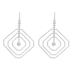 4.22 Carat Asscher Diamond Earrings