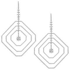 4.22 Carat Asscher Platinum Diamond Earrings GIA Certified