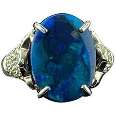 4.22 Carat Black Opal and Diamond Ring in 14 Karat White Gold
