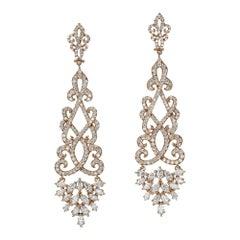 4.22 Carat Dangling Diamond Rose Gold Chandelier Earrings
