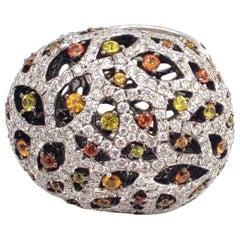 4.22 Carat Diamond Multi Sapphire 18 Karat White Gold Panther Ring