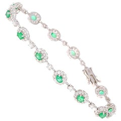 4.22 Carat Emerald Diamond Bracelet 14 Karat White Gold