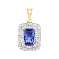 4.22 Carat Genuine Tanzanite and White Diamond 14 Karat Yellow Gold Pendant