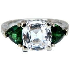 4.22 Carat Natural White Sapphire Tsavorite Ring 14 Karat