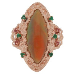 4.22 Ct Marquise Opal, Pink Tourmaline, Emerald and Diamond Ring 14K Rose Gold