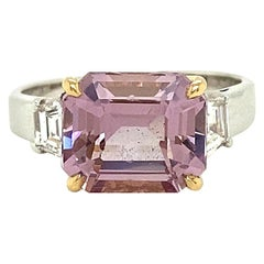 4.22 Carat Unheated Burmese Pink Spinel and White Diamond Engagement Ring