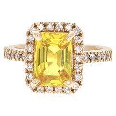 4.22 Carat Yellow Sapphire Diamond 14 Karat Yellow Gold Ring