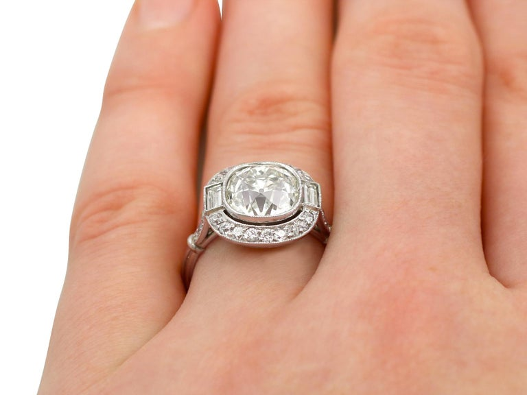 4.23 Carat Diamond and Platinum Halo Engagement Ring For Sale 5