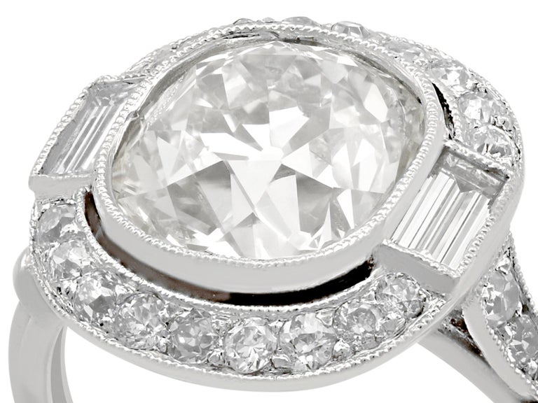 Women's 4.23 Carat Diamond and Platinum Halo Engagement Ring For Sale