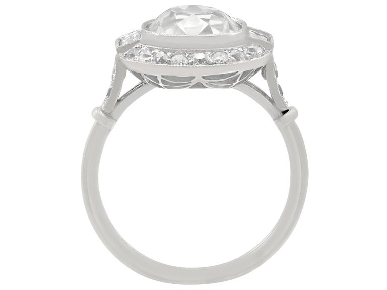 4.23 Carat Diamond and Platinum Halo Engagement Ring For Sale 1