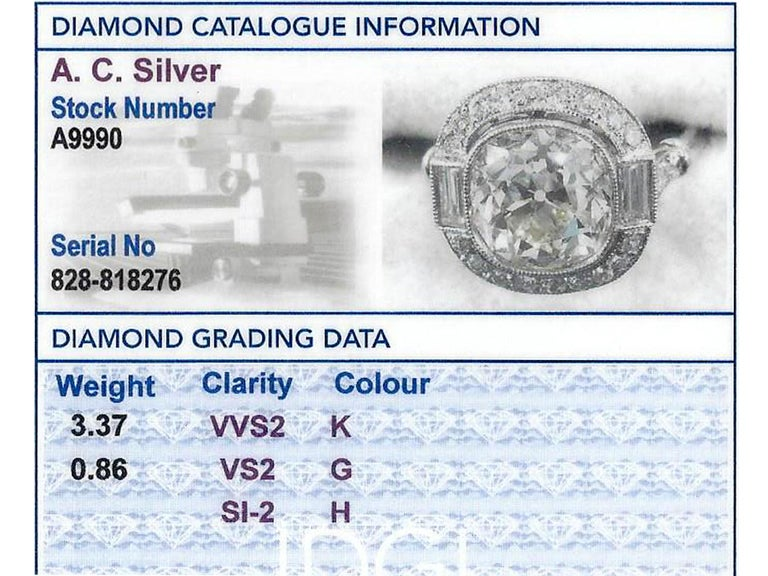 4.23 Carat Diamond and Platinum Halo Engagement Ring For Sale 2