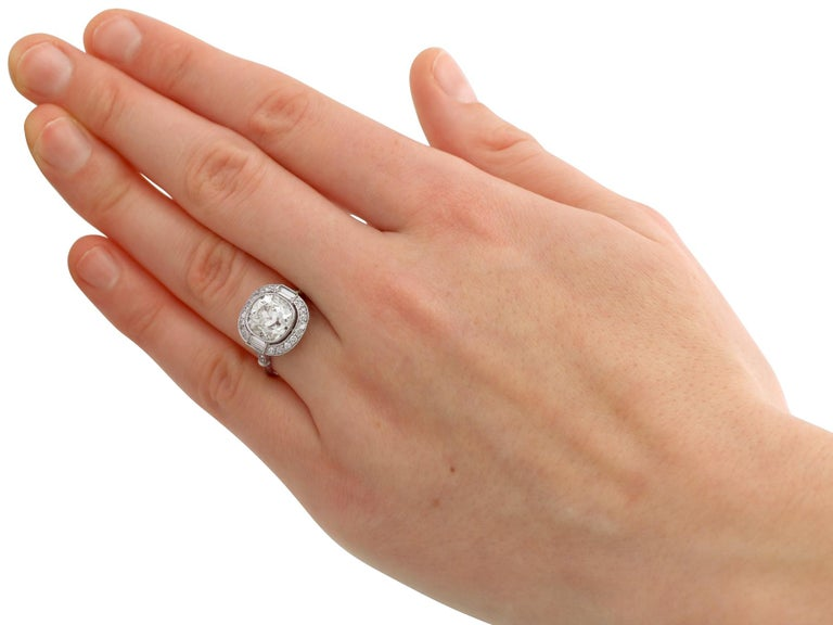4.23 Carat Diamond and Platinum Halo Engagement Ring For Sale 3