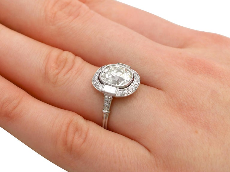 4.23 Carat Diamond and Platinum Halo Engagement Ring For Sale 4