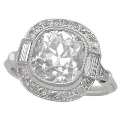 4.23 Carat Diamond and Platinum Halo Engagement Ring