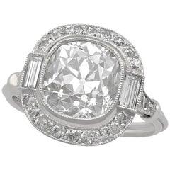 4.23 Carat Diamond and Platinum Halo Engagement Ring