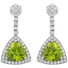 4.23 Carat Peridot Diamond Dangle Earrings