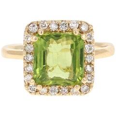 4.23 Carat Peridot Diamond Engagement Yellow Gold Ring