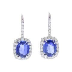 4.23 Carat Total Cushion Cut Sapphire & Gemstone Earring in 18k White Gold
