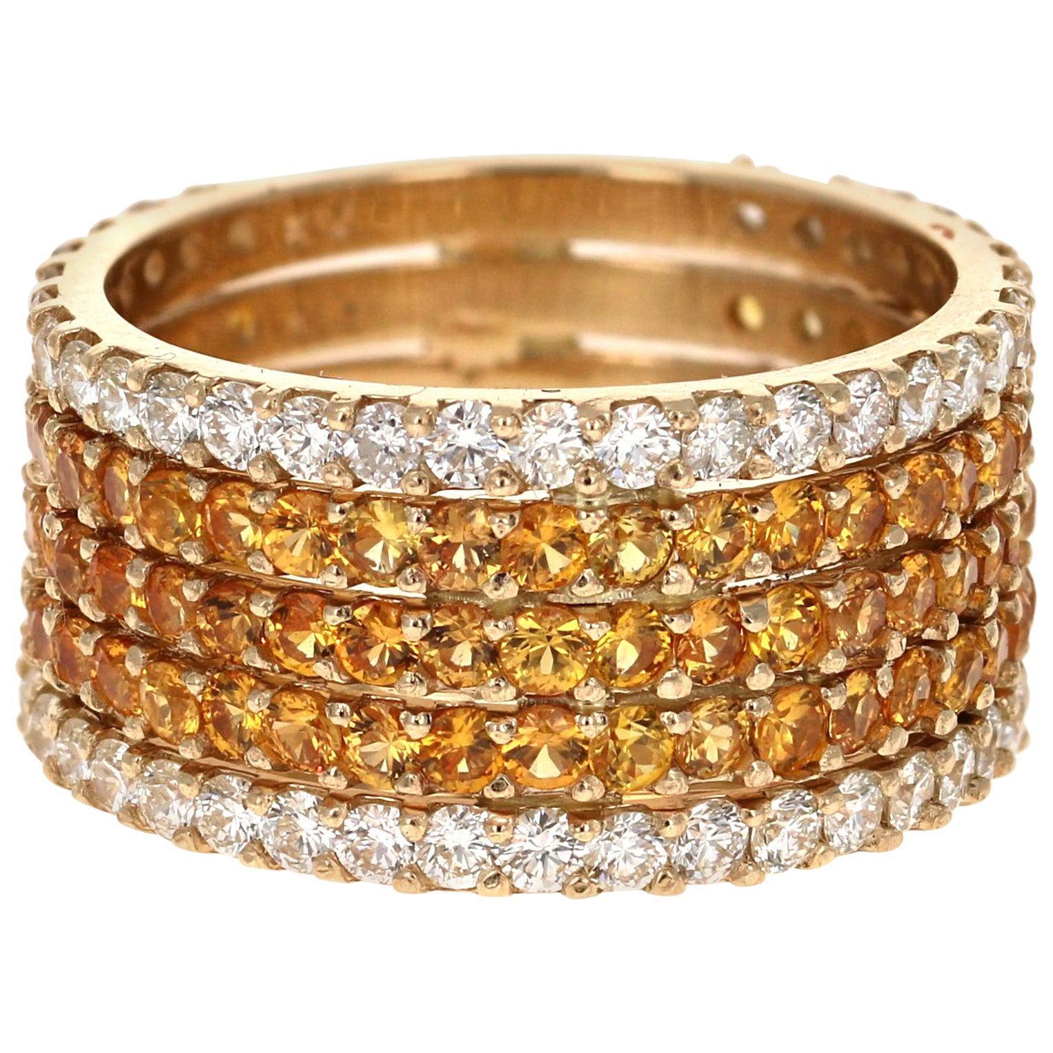 4.23 Carat Yellow Sapphire and White Diamond 14 Karat Yellow Gold Band