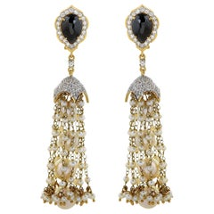 4.23 Ice Diamond and Pearl 18 Karat Yellow Gold Tassel Earrings in Stock
