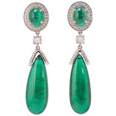 42.32 Carat Emerald Cabochon and Diamond Drop Earring
