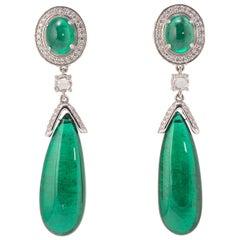 42.32 Carat Emerald Drop and Diamonds Earrings