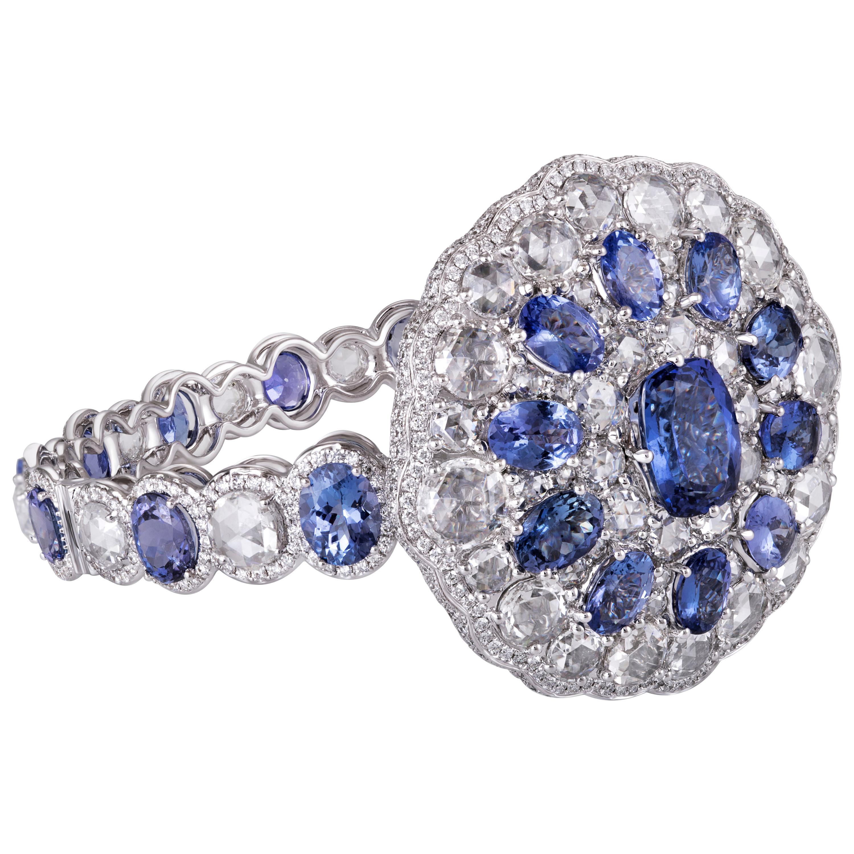 Rarever 18k White Gold Tanzanite and Rose Cut Diamond Cuff Bracelet Bangle
