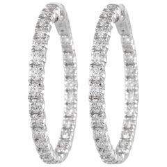 4.24 Carat Diamond Hoop Earrings White Gold