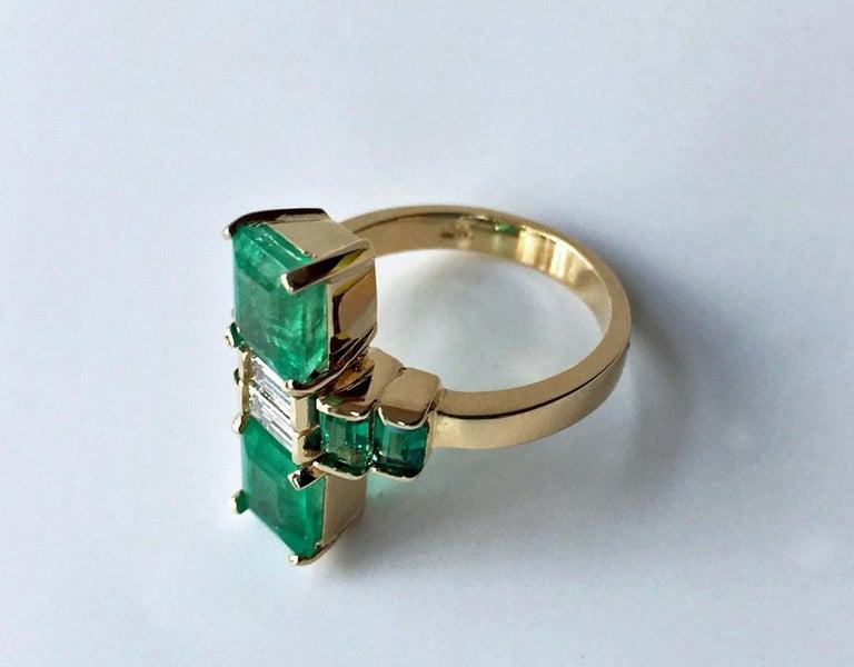 Emerald Cut 4.24 Carat Fine Colombian Emerald Diamond Art Deco Style Ring 18K For Sale