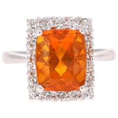 4.24 Carat Fire Opal Diamond Cocktail 14 Karat White Gold Ring