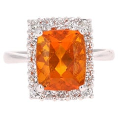 4.24 Carat Fire Opal Diamond Cocktail White Gold Ring