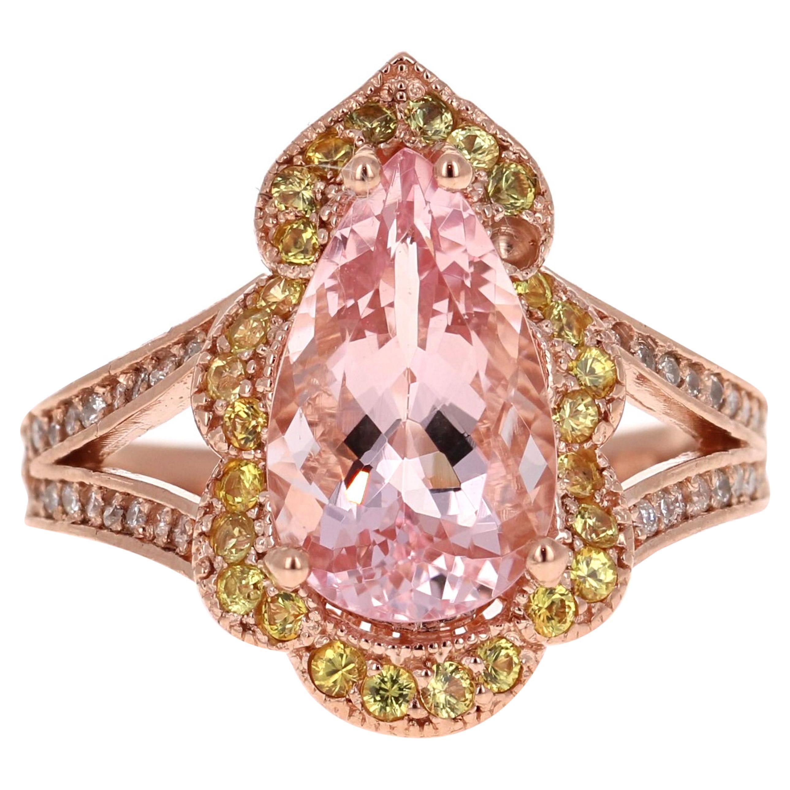 4.24 Carat Morganite Diamond 14 Karat Rose Gold Cocktail Ring