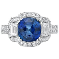 4.24 Carat Royal Blue Sapphire GRS Certified Non Heated Diamond Ring Cushion Cut