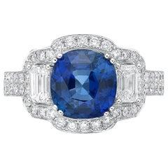 4.24 Carat Sri Lanka Sapphire GRS Certified Non Heated Diamond Ring Cushion Cut