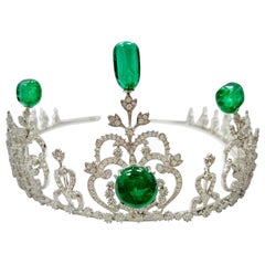 42.42 Carat GRS Certified Emerald Beads and White Diamond Gold Tiara/Necklace
