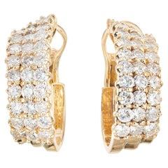 4.25 Carat Diamond Yellow Gold Hoop Earrings