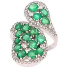 4.25 Carat Emerald and Diamond 14 Karat White Gold Cocktail Ring
