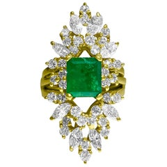 4.25 Carat Natural Emerald Diamond Cocktail Insert Ring 14 Karat Yellow Gold